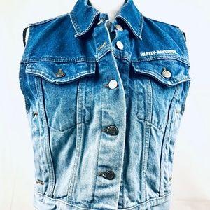 Harley Davidson Women's Denim Jean Vest Top Size L